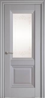 Межкомнатные двери Имидж Новый Стиль серая пастель премиум без молдинга со стеклом Р2