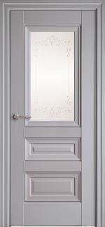 Межкомнатные двери Статус Новый Стиль серая пастель премиум с молдингом и со стеклом Р2