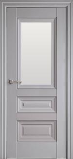 Межкомнатные двери Статус Новый Стиль серая пастель премиум без молдинга со стеклом Сатин