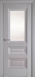 Межкомнатные двери Статус Новый Стиль серая пастель премиум без молдинга со стеклом Р2