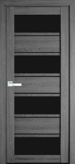 Межкомнатные двери Элиза Новый Стиль дуб серый стекло черное