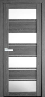 Межкомнатные двери Элиза Новый Стиль дуб серый стекло Сатин