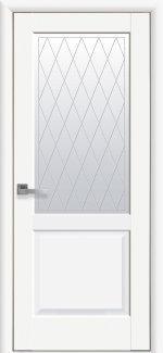 Двери Новый Стиль Эпика белый мат премиум со стеклом Р2