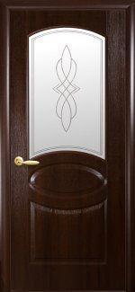Двери Фортис R Овал Новый Стиль каштан Делюкс со стеклом Р1