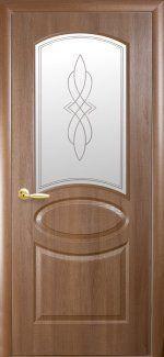 Двери Овал Новый Стиль золотая ольха со стеклом