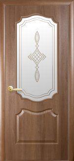 Межкомнатные двери Вензель Новый Стиль золотая ольха делюкс со стеклом Р1