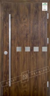 Входные двери Grand House 73 мм Модель №10 Fashion України темний горіх Антивандальная пленка Темный орех