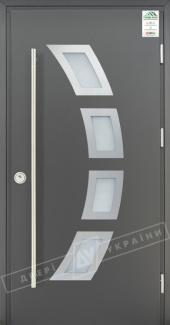 Входные двери Grand House 73 мм Модель №5 ручка Fashion України графіт металік Антивандальная пленка Темный орех