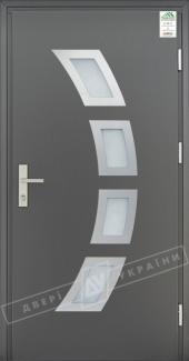 Входные двери Grand House 73 мм Модель №5 України графіт металік Антивандальная пленка Темный орех