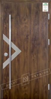 Входные двери Grand House 73 мм Модель №6 Fashion України темний горіх Антивандальная пленка Темный орех