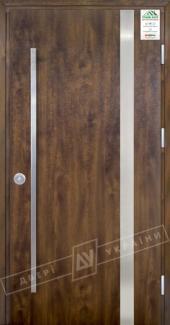 Входные двери Grand House 73 мм Модель №7 Fashion України темний горіх Антивандальная пленка Темный орех