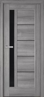 Межкомнатные двери Грета Новый Стиль бук пепельный делюкс стекло черное