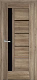 Межкомнатные двери Грета Новый Стиль дуб золотой делюкс стекло черное