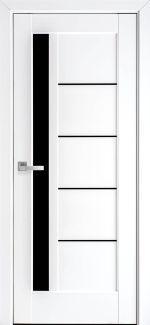 Двери Грета Black Новый Стиль белый мат Премиум стекло черное