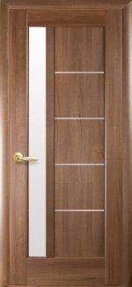 Межкомнатные двери Двері Грета Новий Стиль золота вільха делюкс скло Сатін