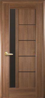 Межкомнатные двери Грета Новый Стиль золотая ольха делюкс стекло черное