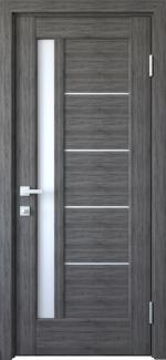 Двери Грета Новый Стиль грей Делюкс со стеклом Сатин
