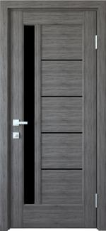 Межкомнатные двери Грета Новый Стиль грей делюкс New стекло черное