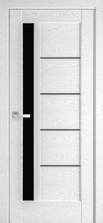 Межкомнатные двери Грета Новый Стиль патина серая делюкс стекло черное