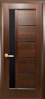 Межкомнатные двери Грета Новый Стиль каштан делюкс стекло черное