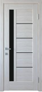 Двери Грета Новый Стиль ясень с черным стеклом