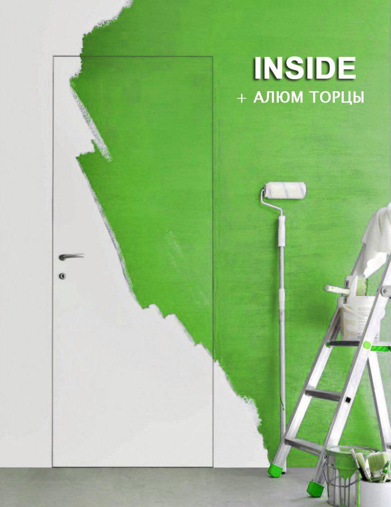 Межкомнатные двери Двері прихованого монтажу INSIDE Invisible під фарбування з алюмінієвими торцями