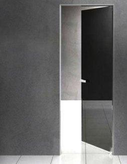 Межкомнатные двери Двері прихованого монтажу Invisible зі склом лакобель чорне