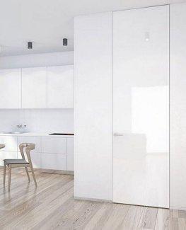 Межкомнатные двери Двери скрытого монтажа Invisible со стеклом лакобель белое