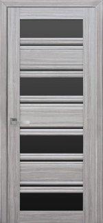 Межкомнатные двери Венеция Новый Стиль жемчуг серебряный стекло С2 черное