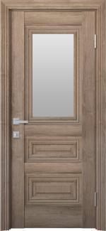 Межкомнатные двери Камилла Новый Стиль орех европейский стекло Сатин