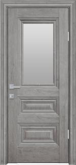 Межкомнатные двери Камилла Новый Стиль орех скандинавский стекло Сатин