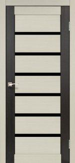 Двери Корфад Porto Combi Deluxe PCD-01 беленый дуб стекло черное
