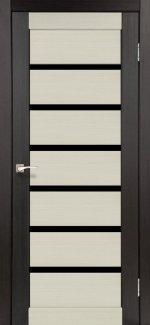 Двери Корфад Porto Combi Deluxe PCD-01 венге стекло черное