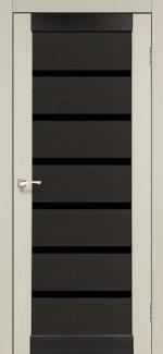 Двери Корфад Porto Combi Deluxe PCD-02 беленый дуб стекло черное