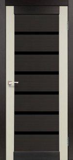 Двери Корфад Porto Combi Deluxe PCD-02 венге стекло черное