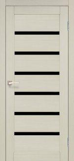 Межкомнатные двери Porto Deluxe PD-01 Корфад беленый дуб стекло черное