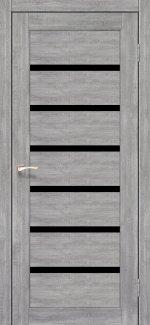Межкомнатные двери Porto Deluxe PD-01 Корфад эш вайт стекло черное