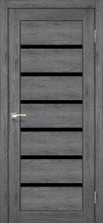 Межкомнатные двери Porto Deluxe PD-01 Корфад дуб марсала стекло черное