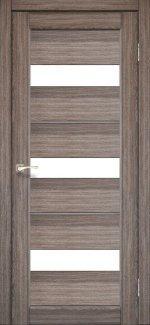 Двери Корфад Porto Deluxe PD-12 дуб грей стекло Сатин + alum