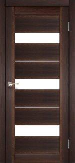Двери Корфад Porto Deluxe PD-12 орех стекло Сатин + alum