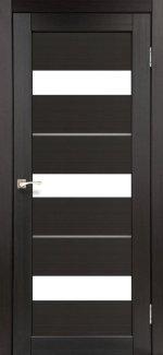 Двери Корфад Porto Deluxe PD-12 венге стекло Сатин + alum