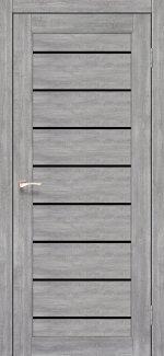 Межкомнатные двери Piano Deluxe PND-01 Корфад эш вайт стекло черное