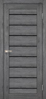 Двери Корфад Piano Deluxe PND-01 дуб марсала стекло черное