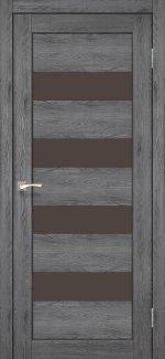 Двери Корфад Piano Deluxe PND-02 дуб марсала стекло бронза