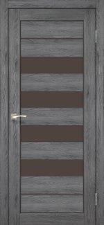 Двери Корфад Piano Deluxe PND-03 дуб марсала стекло бронза