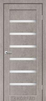 Межкомнатные двери Porto PR-01 Корфад лайт бетон стекло Сатин