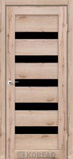 Межкомнатные двери Porto PR-03 Корфад дуб тобакко стекло черное