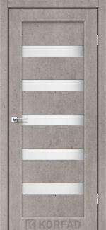 Межкомнатные двери Porto PR-03 Корфад лайт бетон стекло Сатин