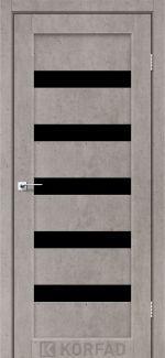 Межкомнатные двери Porto PR-03 Корфад лайт бетон стекло черное