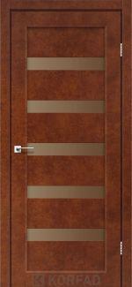 Межкомнатные двери Porto PR-03 Корфад сталь кортен стекло бронза